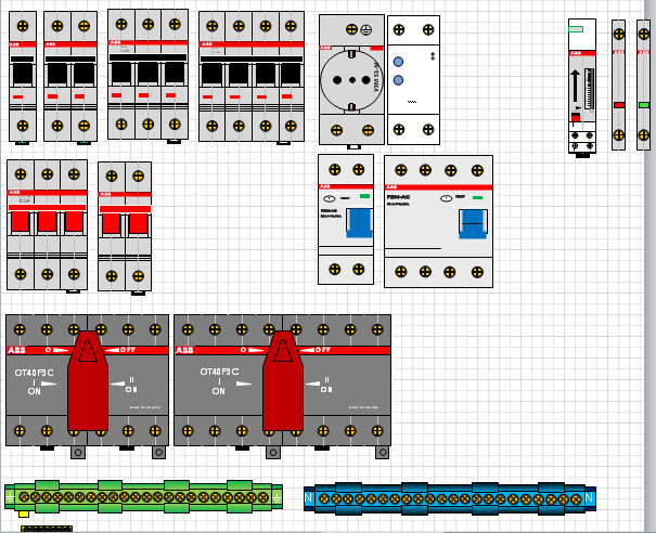 Элементы на DIN рейку в visio Элементы, Abb, Монтаж электрощитка
