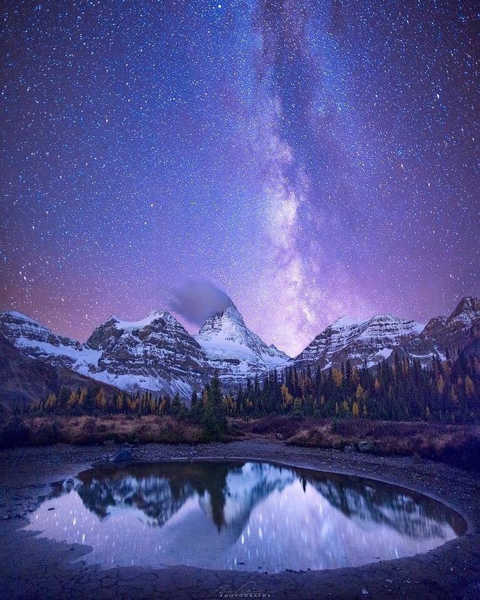 Горное озеро Фотография, Красивый вид, Природа, Горы, Озеро, Ночь, Звездное небо, Nick Fitzhardinge