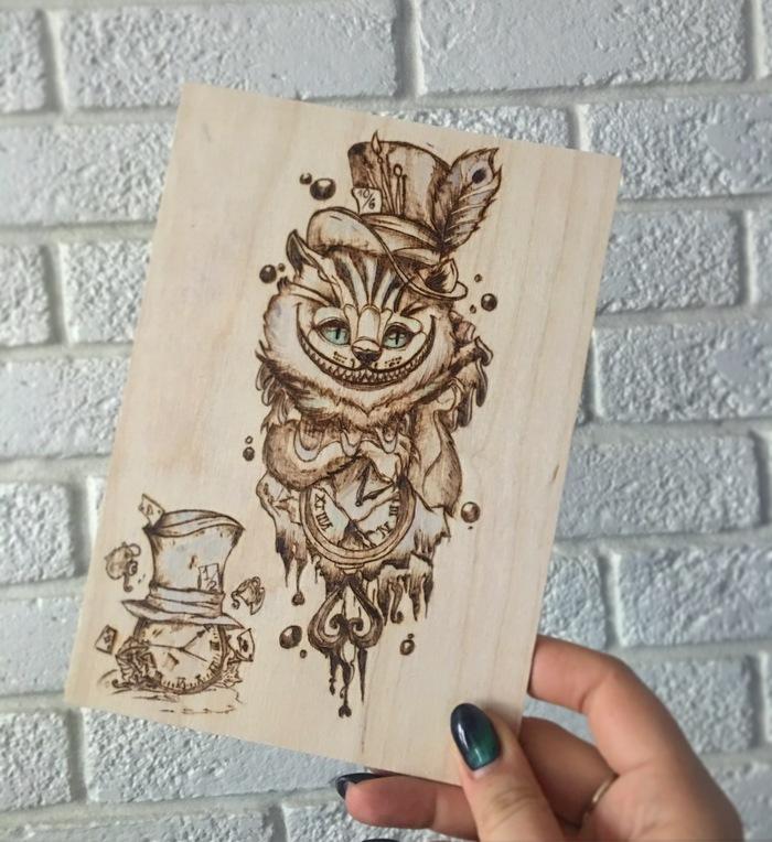 Чешир абсурда Выжигание, Рукоделие с процессом, Длиннопост, Своими руками, Рукоделие, Алиса в Стране чудес, Чеширский кот