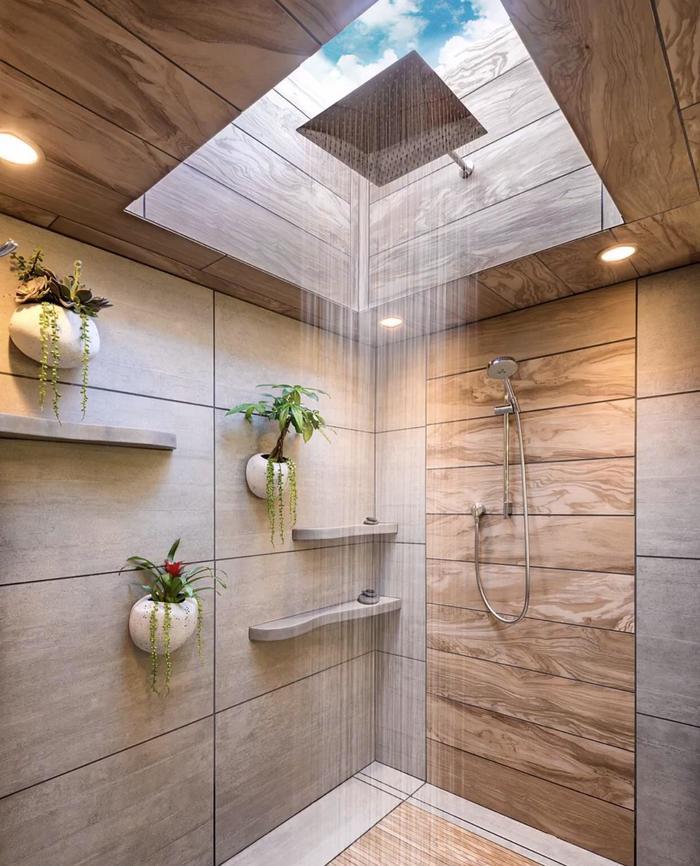 Ванная комната с видом на небо