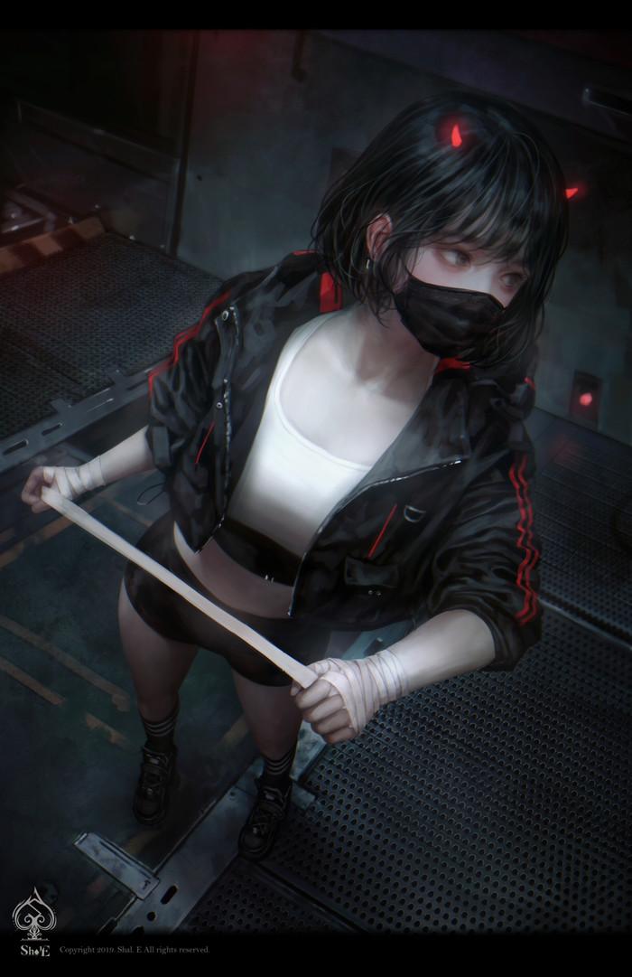 ByShal. E Арт, Shal E, Рисунок, Рога, Anime Art, Длиннопост