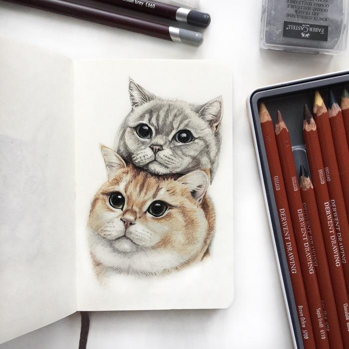 Кошачья семейка Кот, Арт, Животные, Длиннопост, Портреты животных, Анималистика