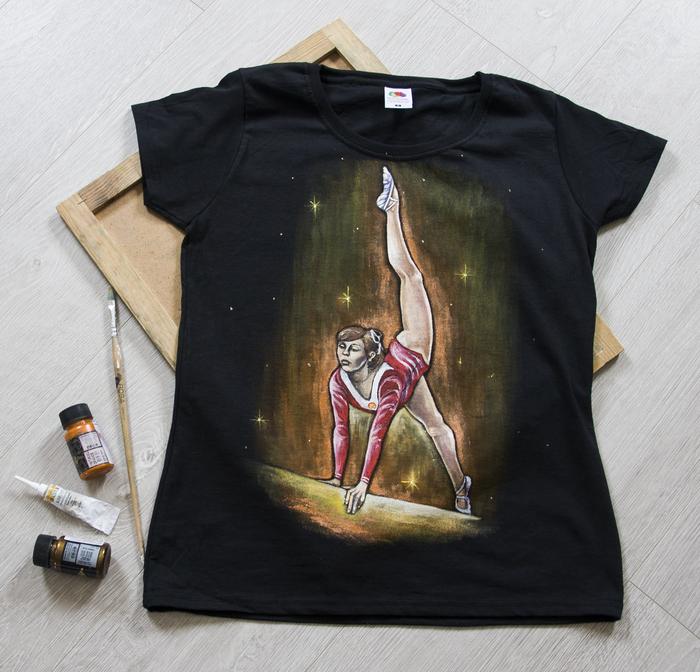 Ручная роспись футболок для гимнастки Желтая футболка, Гимнастка, Спорт, Роспись по ткани, Длиннопост