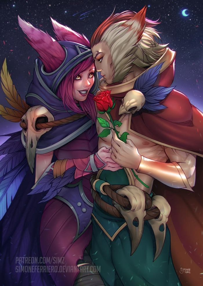 Xayah + Rakan Valentine's Day Art Арт, Simz, League of Legends, Rakan, Xayah