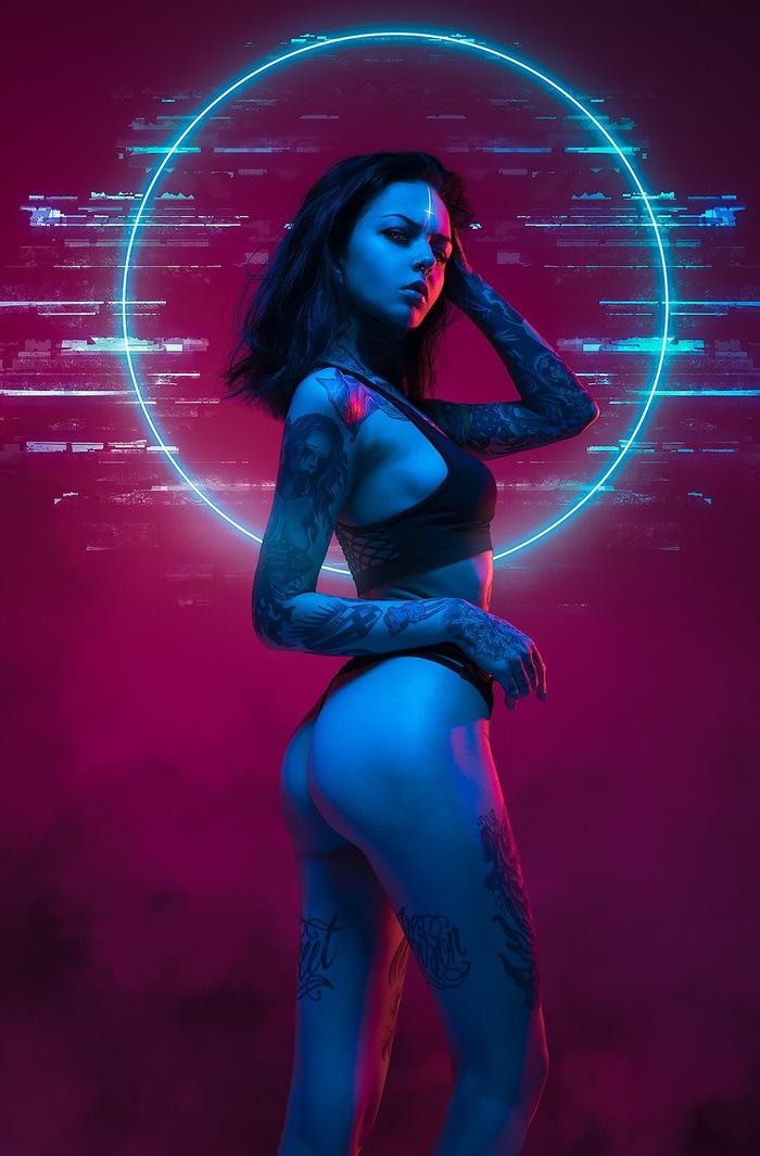 Neon Witch Neon Witch, Aku, Akunohako, Красивая девушка, Неон, Original, Длиннопост