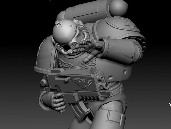 [Скульптура] Имперский кулак. Warhammer 40k. Скульптура, Warhammer 40k, 3D, 3D моделирование, Космодесант, Компьютерные игры, Видео, Zbrush