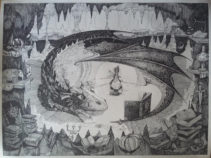 Хранитель книг Рисунок, Дракон, Существа, Книги, Сказка, Иллюстрации, Рисунок ручкой, Гелевая ручка