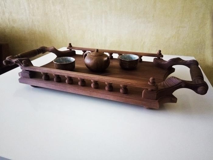 Чайный поднос-столик Деревянный поднос, Чайный столик, Дерево, Длиннопост