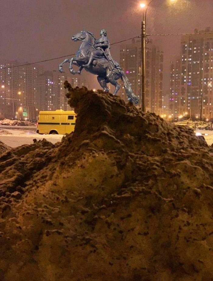 Петербургский сугроб, который стал мемом Сугроб, Мемы, Санкт-Петербург, Длиннопост
