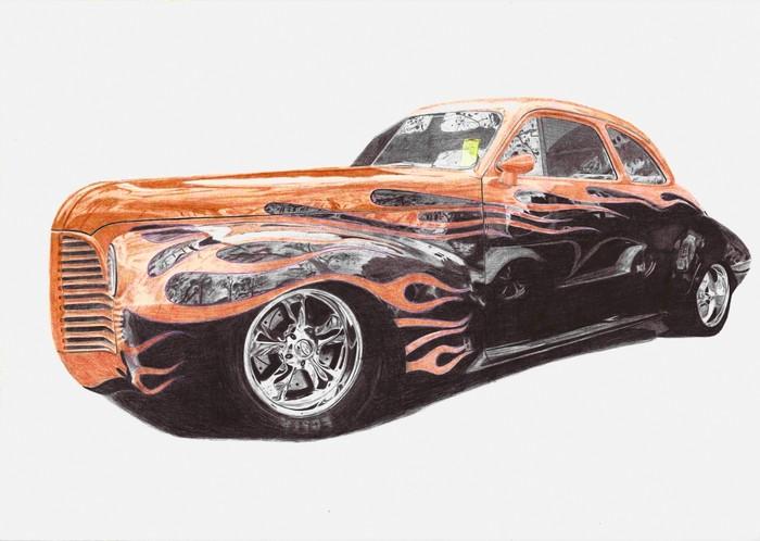 Первые работы в цвете Рисунок, Рисунок ручкой, Шариковая ручка, Арт, Авто, Ford GT, Hot Rod, Длиннопост