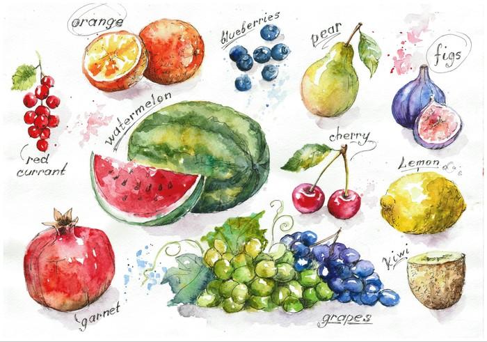 Арты от Евы (часть 2) Рисунок, Акварель, Арт, Еда, Овощи, Фрукты, Длиннопост
