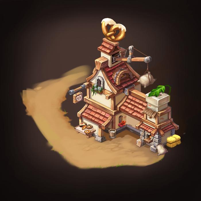 Пекарня. Еще один рисунок в CG Арт, Цифровой рисунок, Рисунок, Изометрия, Архитектура, Дом, Пекарня