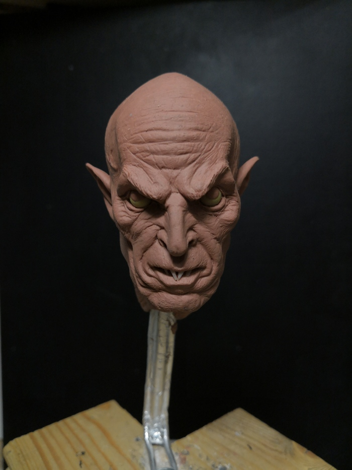 Голова вампира, мастер-модель для магнита Вампиры, Пластилин, Скульптура, Ужас, Хобби, Арт, Длиннопост