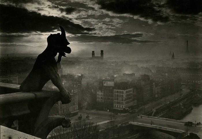 Вид на Париж с Нотр-Дама, 1930-е. Фотография, Париж, Нотрдам, Старое фото