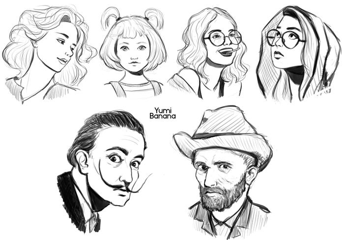 Пачка последних рисунковв Рисунок, Набросок, Арт, Original Character, 100 heads, Длиннопост, Цифровой рисунок, Портрет, Голова