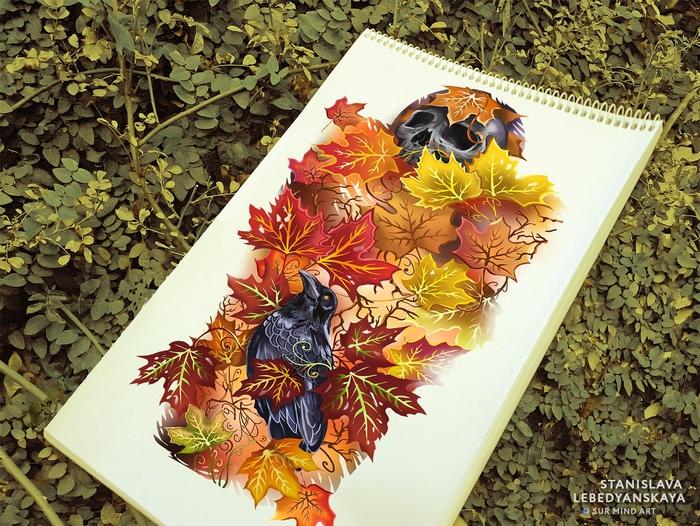 Осенний мотив... Тату, Картинки, Художник, Арт, Осень, Творчество, Птицы, Рисунок