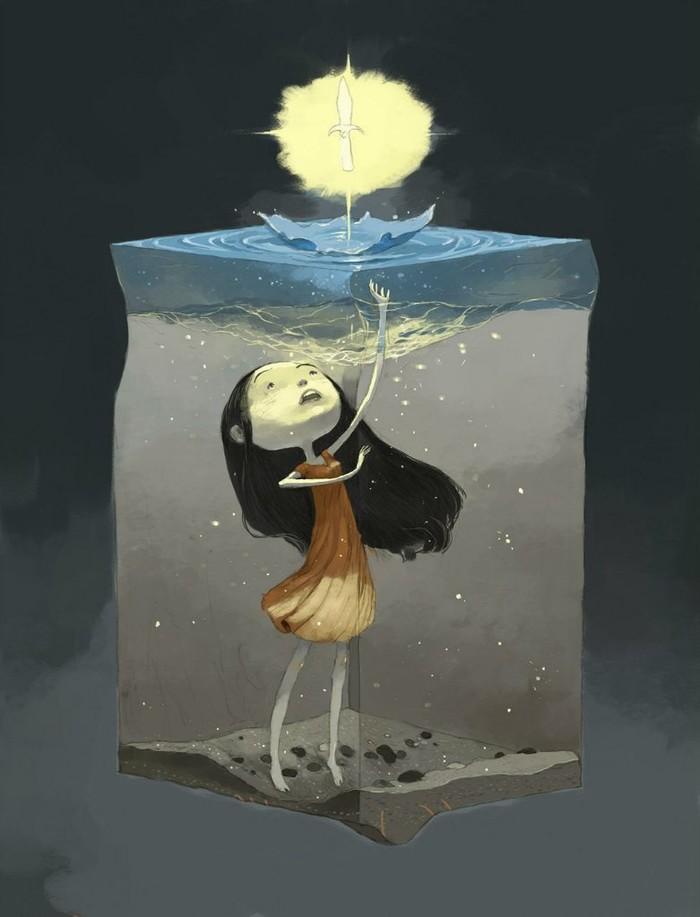 Девушка в кубе Арт, Рисунок, Сюрреализм, Подборка, Длиннопост