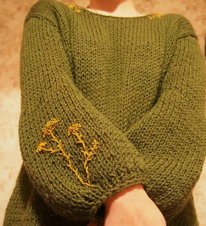 Свитер с простой вышивкой Вязание, Рукоделие без процесса, Свитер, Длиннопост, Своими руками