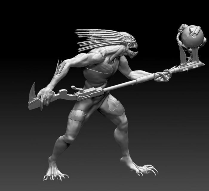 [Скульпт] Warhammer 40k. Круут. Warhammer 40k, Zbrush, 3D, Скульптура, Компьютерные игры, 3D моделирование, 3D печать, Видео