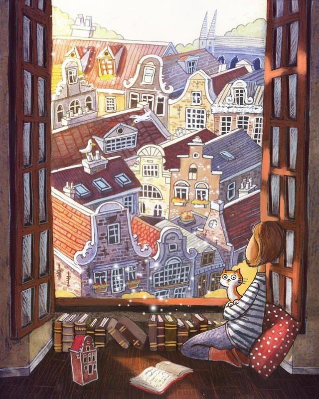 Добрые иллюстрации  от художницы Ema Malyayka Арт, Рисунок, Иллюстрации, Милота, Длиннопост