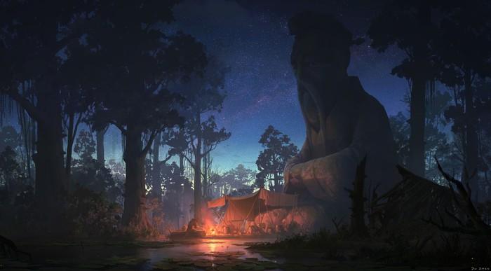 Холодная и темная ночь Арт, Рисунок, Лагерь, Ночь