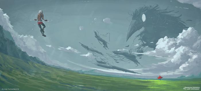 """Порванный мир #17. """"Орнитолог"""" VeoWind, Порванный мир, Цифровой рисунок, Монстр, Дождь, Облака, Птицы, Рисунок"""