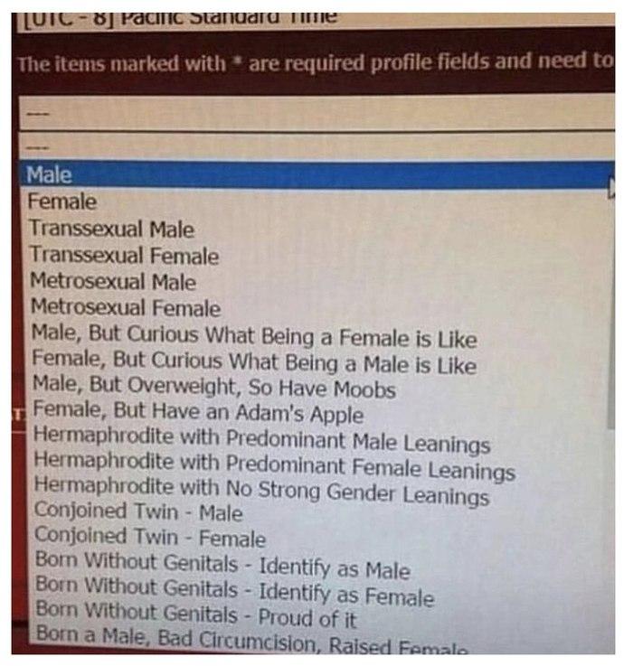 Выбор пола при регистрации на зарубежном сайте