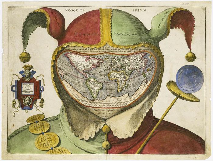 Карта Мира, помещенная в голову Дурака. Лига историков, Карта Дурака, Картография, 16 век, Карта мира