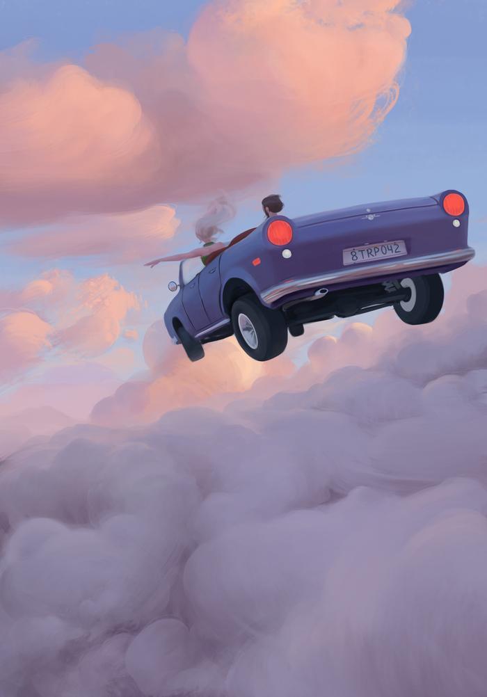 The Trip Рисунок, Цифровой рисунок, Полет, Авто, Небо, Облака, Фантастика