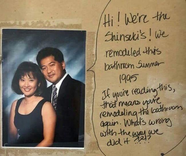Послание из прошлого под плиткой в ванной комнате. Reddit, Послание, Ремонт, Фотография