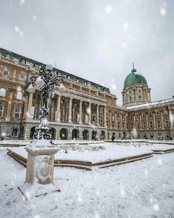 Королевский дворец, Будапешт. Дворец, Будапешт, Фотография, Снег, Длиннопост