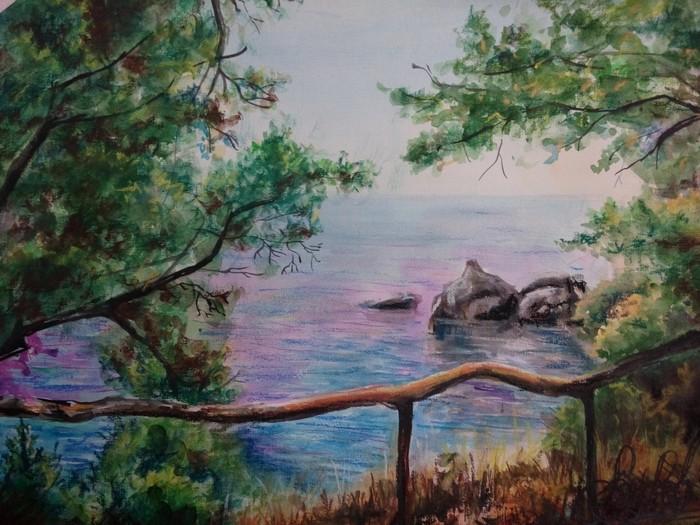 Вечерний пейзаж Пейзаж, Арт, Акварель, Крым, Тропа голицына, Море, Рисунок