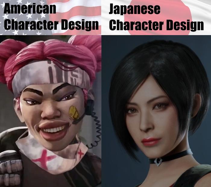 Дизайн персонажей у Американцев и у Японцев.