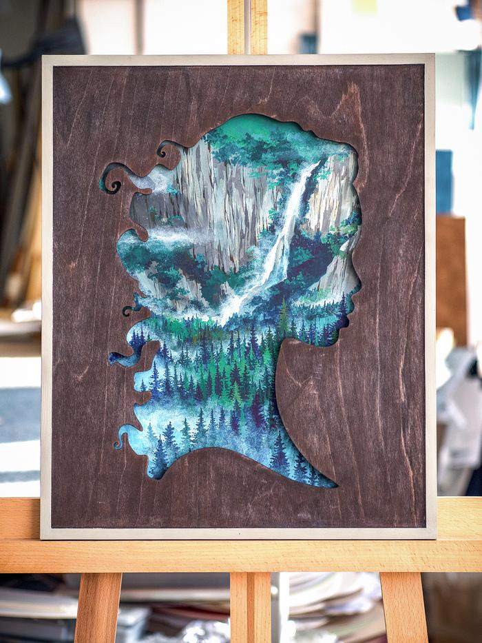 Девушка в мечтах Craftplaneta, Силуэт, Рисунок, Лазерная резка, Фанера, Ручная работа, Картина, Рукоделие без процесса, Длиннопост