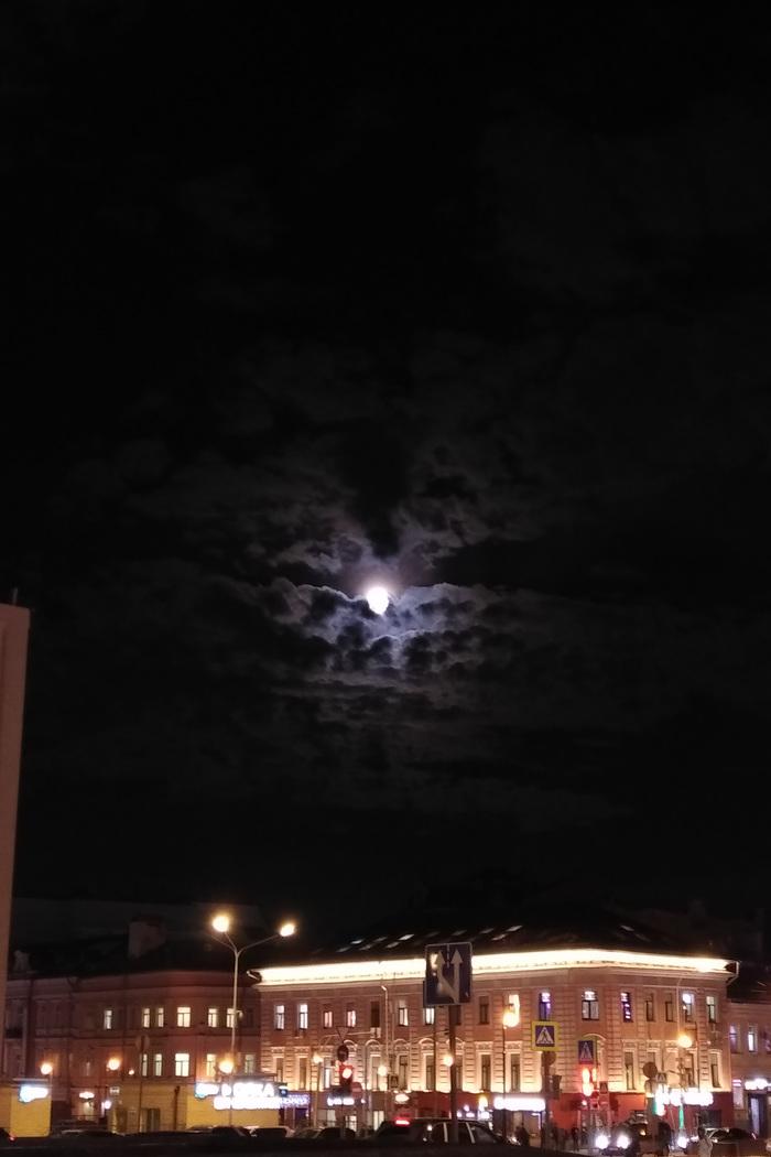 Луна над Москвой Небо, Луна, Москва, Фотография, Длиннопост
