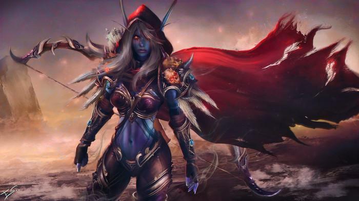 За Азерот World of Warcraft, Сильвана Ветрокрылая, Фан-Арт, Арт, Game Art, Eddy Shinjuku, Эльфы крови, Дренеи, Длиннопост