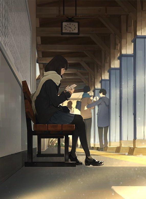 Ожидание Anime Art, Аниме, Anime Original, Станция, Katsu0073