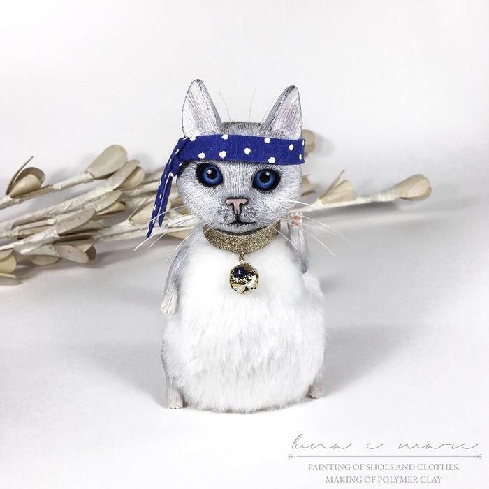 Интерьерная игрушка кот-пират «Lady». Рукоделие с процессом, Кот, Авторская игрушка, Игрушка ручной работы, Полимерная глина, Длиннопост