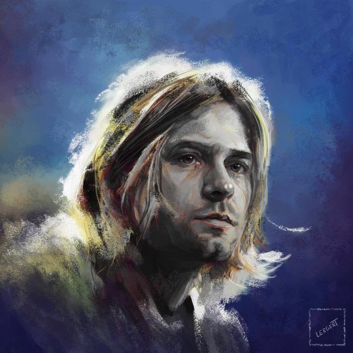 Курт Кобейн Курт Кобейн, Портрет, Музыкант, Знаменитости, Рисунок, Цифровой рисунок