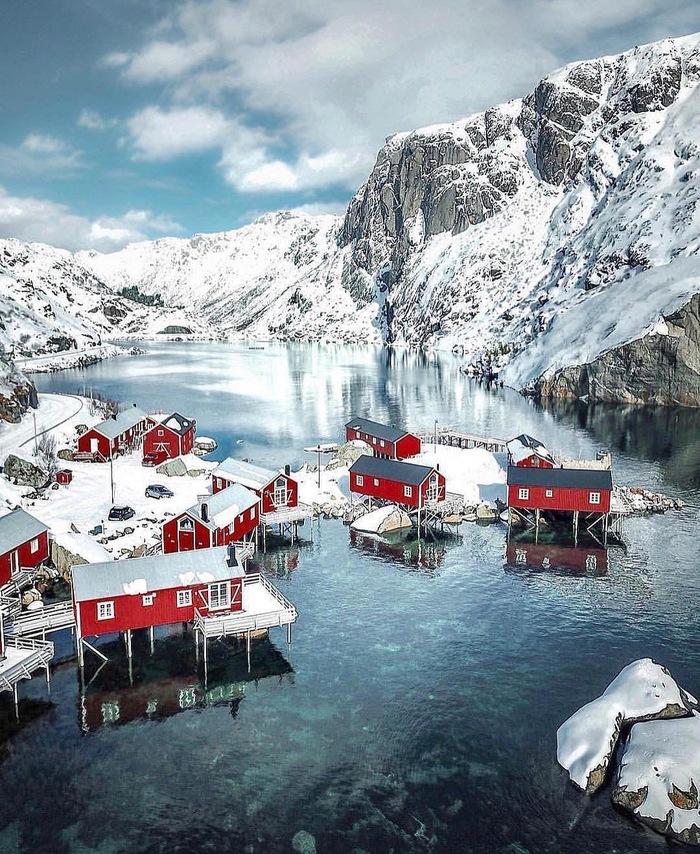 Деревушка в Норвегии Лофотенские острова, Деревня, Норвегия, Фотография