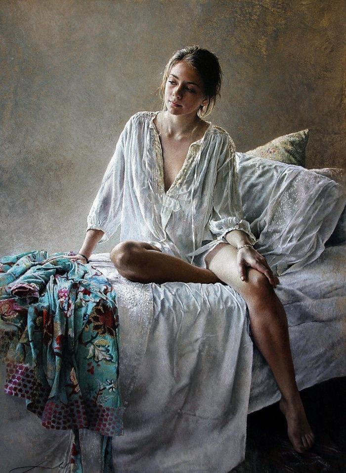 Утро Арт, Картина, Рисунок, Художник, Искусство, Красивая девушка, Утро, Nathalie Picoulet