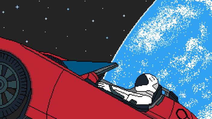 There is Starman waiting in the sky! [Работа допиливается] Pixel Art, Spacex, Tesla, Тесла, Илон Маск, Starman, Космос, Falcon Heavy