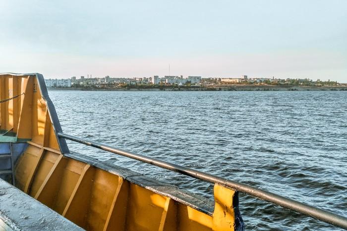 Паром через волгу Камышин, Волгоградская область, Паром, Корабль, Волга, Россия, Фотография, Река