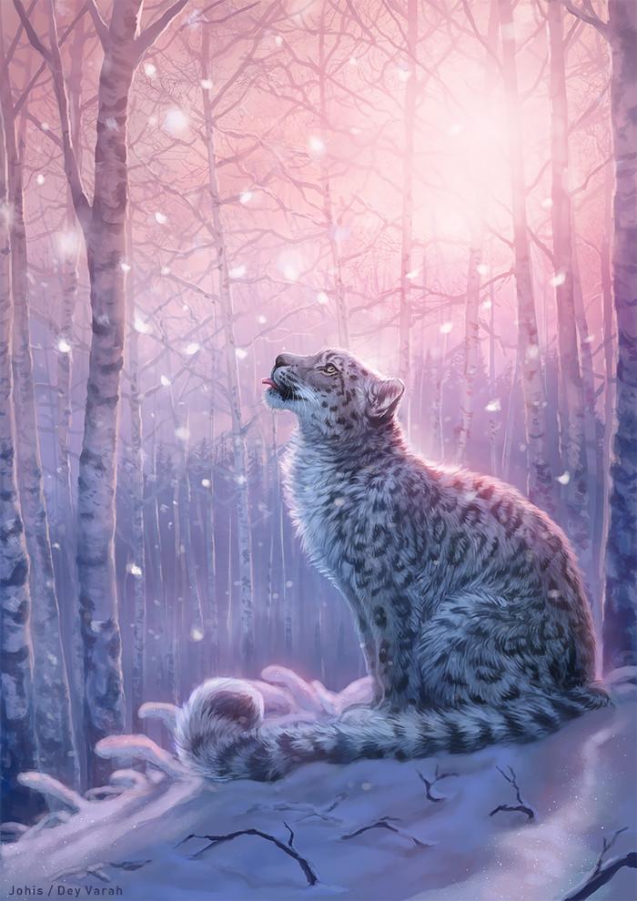 Taste of Tranquility Арт, Снежный барс, Snow leopard, Спокойствие, Коллаб, Deyvarah, Johanna Tarkela, Lhuin