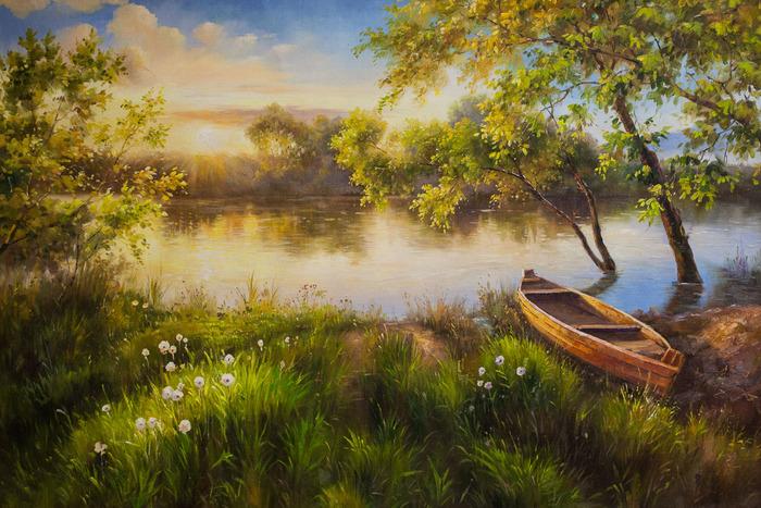 Летом у реки на рассвете Река, Лето, Лодка, Природа, Пейзаж, Картина, Интерьер