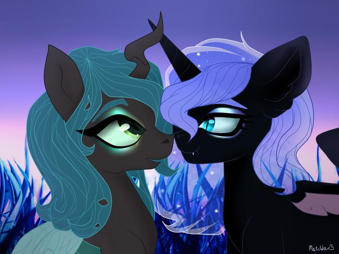 Royal booping My Little Pony, Queen Chrysalis, Princess Luna, Nightmare Moon, Шиппинг, MLP Lesbian, Pinkamenascratch