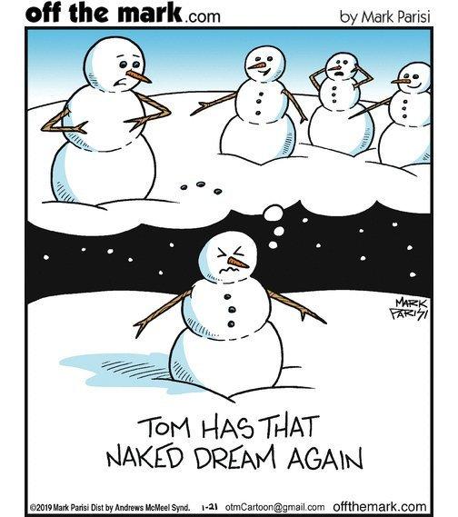 Бедный снеговик Снеговик, Сон, Offthemark