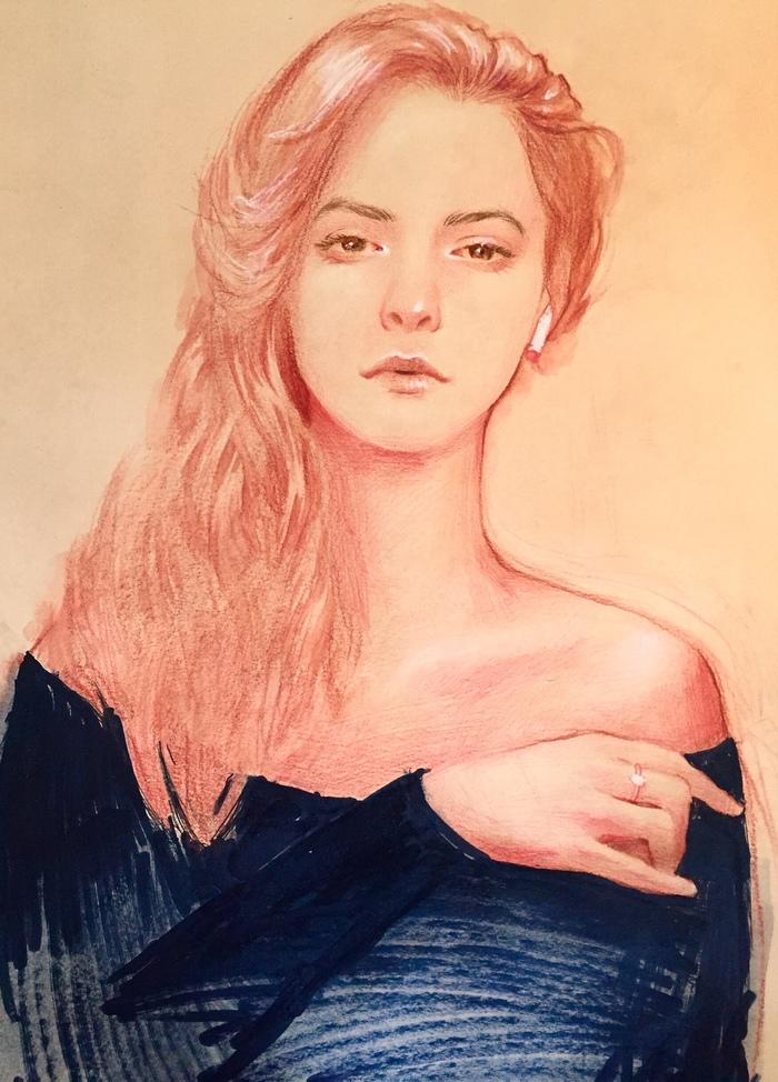 Портрет. Портрет, Рисунок, Девушки, Акварельные карандаши, Маркер, Смешанная техника