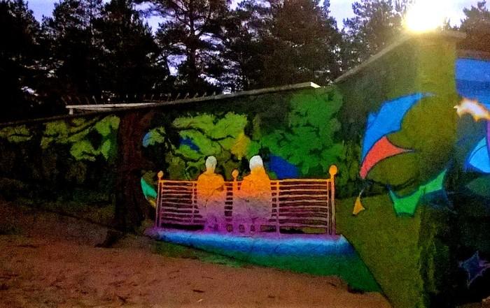Граффити (так же как и стрит-арт) должны украшать стены, а не уродовать их #89 Уличная живопись, Граффити, Стрит-Арт, Скамейки, Сладкая парочка, Сестрорецк, Фотография