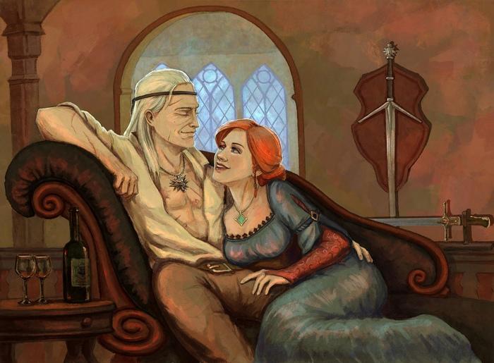 И жили они долго и счастливо... Ведьмак, The Witcher 3:Wild Hunt, Арт, Фан-Арт, Геральт из Ривии, Трисс Меригольд